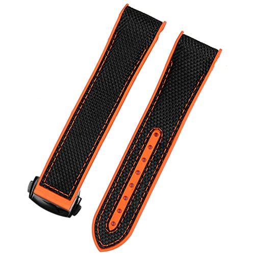 FAAGFC Correa de reloj de goma de nailon para hombre Omega con cierre desplegable y correa de reloj de pulsera de silicona (color de la correa: cierre naranja negro, ancho de la correa: 22 mm)