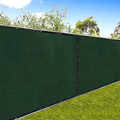 """Amagabeli 5'8""""x50' Fence Privacy Screen Heavy Duty for 6'x50' Chain Link Fence Fabric Screen with Brass Grommets Outdoor 6ft Patio Construction Fencing 90% Blockage Shade Tarp Mesh UV Resistant Green"""