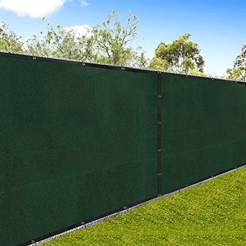 "Amagabeli 5'8""x50' Fence Privacy Screen Heavy Duty for 6'x50' Chain Link Fence Fabric Screen with Brass Grommets Outdoor 6ft Patio Construction Fencing 90% Blockage Shade Tarp Mesh UV Resistant Green"