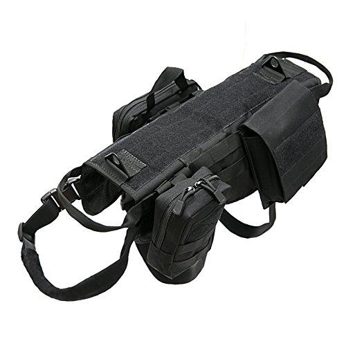 Petvins Taktisches Hundegeschirr Molle Weste Geschirr K9 Verstellbar Outdoor Training Service Camouflage Geschirr mit 3 abnehmbaren Taschen Schwarz Größe XL