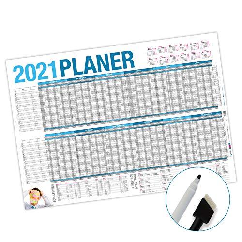 itenga Urlaubsplaner Projektplaner 2021 Set - Wandkalender abwischbar DIN A1 (84,1 x59,4 cm) 250g/m² Personalplaner mit Stift