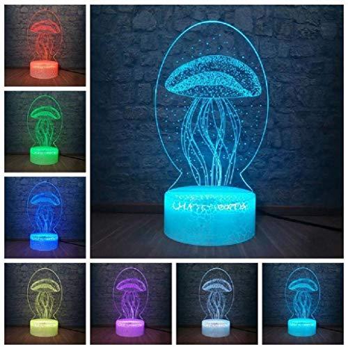 Neonate Night Light 3D-ledlamp, 3D-illusie, optische illusie, 7 stapsgewijs kleuren, Smart Touch Desk lamp beste voor kinderen