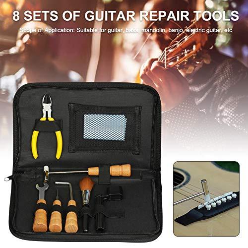 LILYKASURE Kit di Strumenti per la Riparazione della Chitarra - Installazione degli Accessori Luthier Riparazione di Manutenzione 8 Pezzi Accessori per Chitarra Well-Matched intensely Excellent