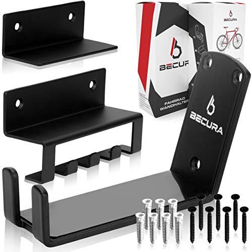 BECURA Fahrrad Wandhalterung - [leichte Montage] - abschließbar - Fahrradhalterung Wand - Fahrrad Aufhängung für Rennrad MTB Ebike Damenrad + Schrauben & Dübel Fahrradaufhängung Wand für Garage