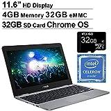 2020 Asus Chromebook 11.6 Inch Non-Touch Laptop, Intel Celeron N3350 up to 2.4 GHz, 4GB LPDDR4 RAM, 32GB eMMC, WiFi, Bluetooth, Webcam, Grey, Chrome OS + NexiGo 32GB MicroSD Card Bundle