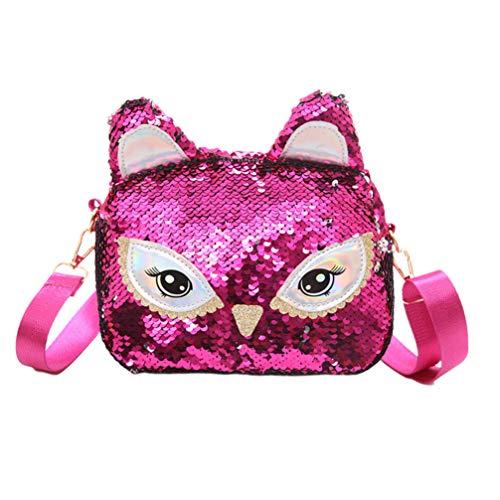TENDYCOCO bolso bandolera con lentejuelas gato lindo messenger bolso de hombro monedero para niñas-rosa oscuro