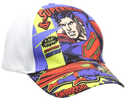 DC Comics Superman, Gorra para Niños, Blanco Optic White, Talla única (Tamaño Fabricante:54)