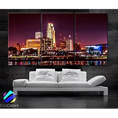Original by BoxColors Large 30 x 60  3 Panels 30 x20  Ea Art Canvas Print Beautiful Omaha Skyline Light Downtown Colorful Wall Home Office Decor (Framed 1.5  Depth)