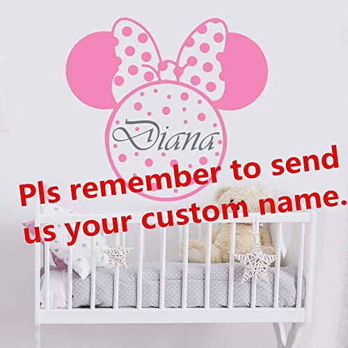 Minnie Mouse verwijderen Vinyl muur Sticker Kids kamer op maat Gitrl Naam Slaapkamer Kwekerij Decal Home Decoratie Poster 57 * 63cm