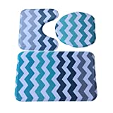 YWYW Alfombrilla antideslizante para baño, color azul, estilo océano, para la tapa del inodoro y la alfombrilla de baño B, muy suave, para sala de estar, dormitorio, habitación de los niños