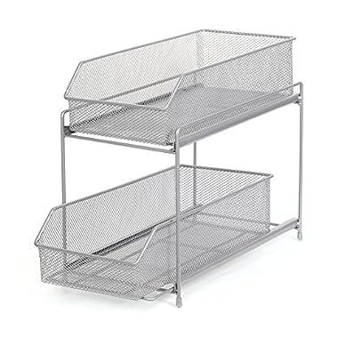 NEX 2 Tier Sliding Basket Organizer Drawer Organizer Brown (LT-DB045A) (Silver)
