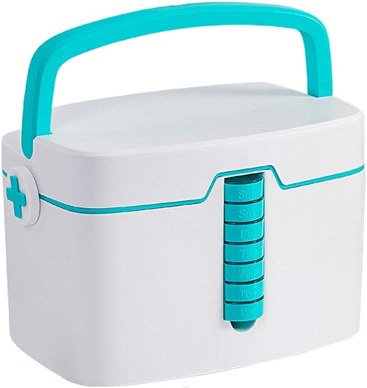 Medicine Box Clinic Household Drug Storage Box - PP Plastic 2 Layer Separation 7 Narrow Drawer Box Size 33.7x24x22.7cm (color   bluee)