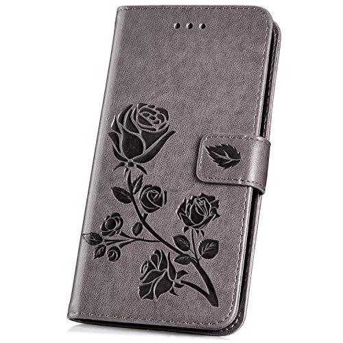 Surakey Compatible con Samsung Galaxy A5 2016 Cover Goffratura Rosa Antiurto Custodia in PU Pelle Ultra Sottile Flip Pieghevole Portafoglio Case con Porta Carte e Supporto Funzione,Grigio
