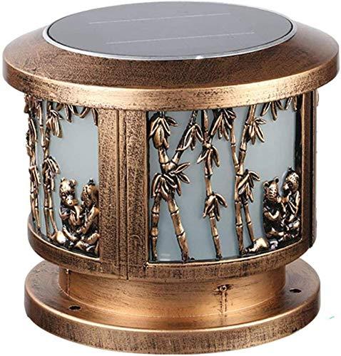 HZWLF LED Outdoor Solar Post Pillar Lamp,IP65 Waterproof Aluminum Post Cap Lights Vintage Garden Lamp with Remote Control,Path Light Courtyard Terrace Column Gold Lamp Outdoor