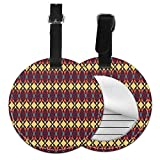 Round Travel Luggage Tags,Abstract Ethnic Traditional Figures Fractal Design Antique Revival Retro A...