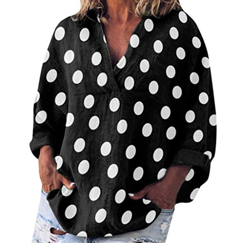iYmitz 3/4-Arm Damen Streetwear Einfarbig Rundausschnitt Leinen Frauen Freizeit Bluse Sommer Freizeithemd