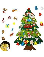 Mgrett Fieltro Árbol de Navidad, Árbol de Navidad de Fieltro DIY 32 Unids, Navidad Decoración Colgante Luz de Cadena LED para Niños Cafe Hotel Casa Decoración