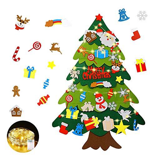 Mgrett Filz Weihnachtsbaum, 32 Stück DIY Filz Weihnachtsbaum, Weihnachtsdekoration Hängendes LED-Lichterkette für Kinder Weihnachten Geschenk,Wandbehang Deko Dekoration