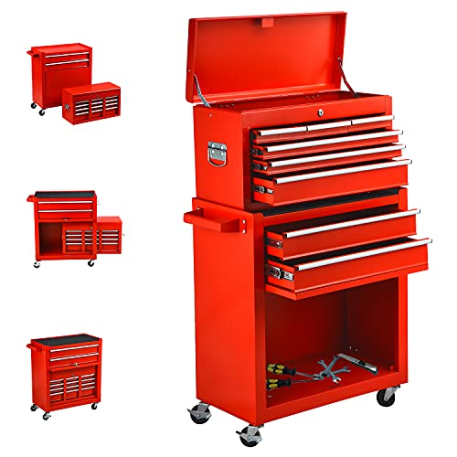 Large Size 8-Drawer Tool Chest Rolling Tool Box with 4 Wheels, 2 in 1 Tool Cart and Lockable Drawers Tool Chest for Garage and Warehouse