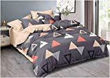 maniqatex Microfiber Cotton Fabric 90x90 inch Double Bed Bedsheet Set of 1 Bedsheet and 2 Pillow Cover (Grey)