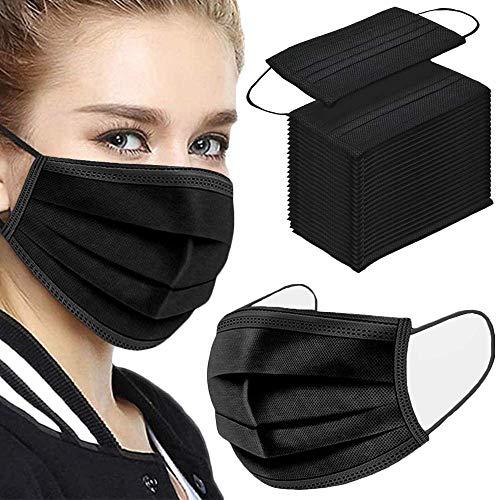 Black Face Masks Disposable, 50 Pack Black Face Masks Black Masks Disposable for Women Men