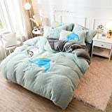BGSFF Funda de edredón de 4 piezas, imitación de terciopelo cordero, terciopelo coral, doble cara, acolchado de cama, sábanas de invierno de terciopelo Fale *2 (7200 x 230 cm)