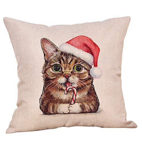 KLily Navidad Animal Gato Y Perro Decoración Funda De Almohada Lino Oficina Asiento Respaldo Cojín Hogar Sofá Dormitorio Decoración Funda De Almohada