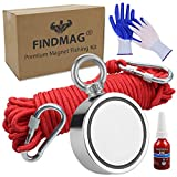 FINDMAG 1000 LBS Fishing Magnet Double Sided Fishing Magnet with Rope, Magnet Fishing Kit for Retrieving Items in River, Lake, Beach, Lawn - 2.95inch Diameter