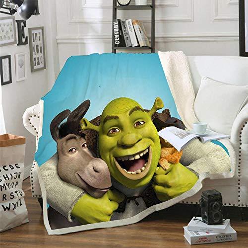 AZSOGOOD Shrek patrón de impresión 3D sofá Manta Separador de Cama, Manta de Viaje Favorita de los niños, Adecuada para Decorar Sala de Estar y Dormitorio-A_150x200cm * 1