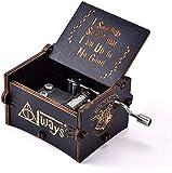 Para Harry Potter la caja de música hecha a mano de madera vintage con manivela tallada, adecuada para regalos a hombres y mujeres de la familia Caja Decorativa (Negro)
