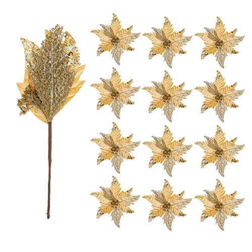 FuleHouzz 12pcs Glitter and Sequin Decorated Large Poinsettias Decorative Christmas Flower Stems for Christmas Tree Wreaths Wedding Decor, Gold
