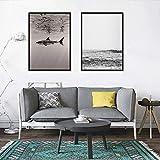 Simple Nordic Ins Style Negro Blanco Mar Tiburón Lienzo Pintura Sala de estar...