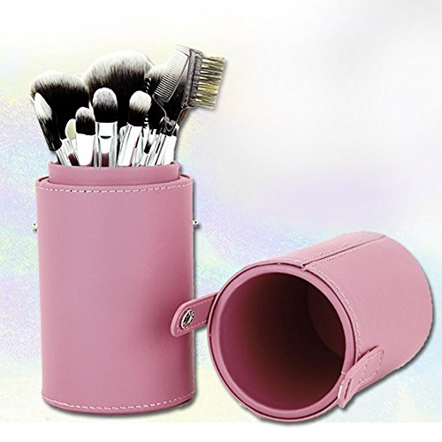 UEB Pinceau de maquillage en cuir Portable Storage Case Cosmetic Maquillage Sacs Brush Porte-gobelet Rose
