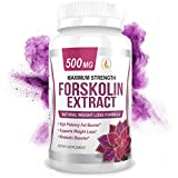 PREMIUM FORSKOLIN EXTRACT, 500mg - 60 Capsules w/ 20% Standardized Forskolin, Non-GMO & Gluten Free, Appetite Suppressant, MAX Strength Belly Fat Burner, Carb Blocker, Weight Loss Supplement. USA Made