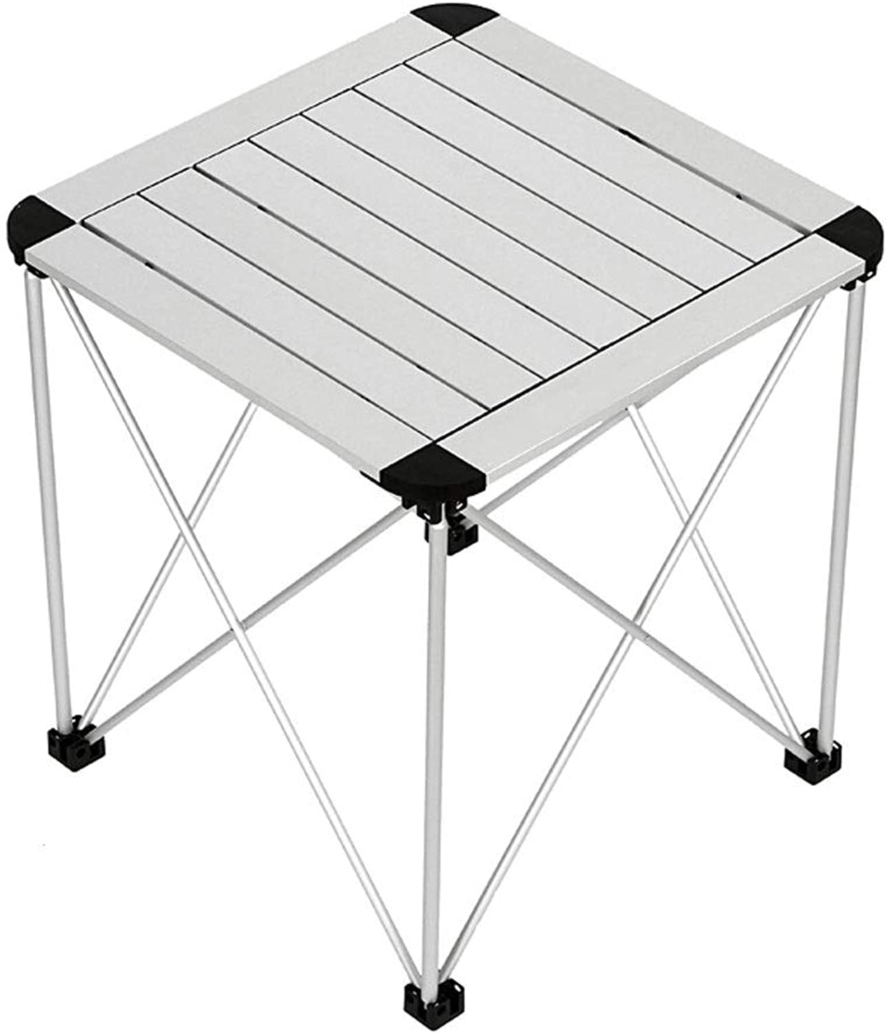 ZK Portable Folding Camping Table Aluminum Lightweight Roll Up Table Top Square Compact Collapsible Camp Side Table for Picnic Beach BBQ Outdoor Kitchen Cooking Backpacking Travel Hiking Table Indoor