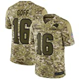 WOCTP Rams Goff # 16 Embroidere Maillots de Football américain, Rugby Training Jersey Hommes Sweat Outdoor Manches Courtes Respirant Haut pour Adultes Army-3XL(195CM+)