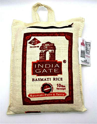 India Gate Aged Basmati Rice Pure & Tasty 10 Lbs in Canvas Bag رز بسماتي بوابة الهند ممتاز