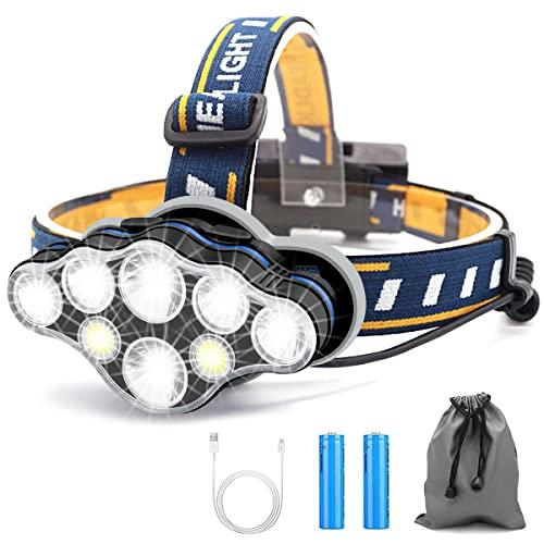 Linterna Frontal Led Recargable, Linterna Cabeza con 8 Modos, USB Súper Brillante Impermeable Con 2 Taterías, Linterna Frontal Para Exteriores, Camping, Pesca, Correr, Trotar, Acampar ⭐
