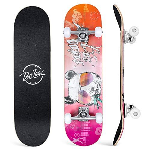 BELEEV Skateboard 31x8 Zoll Komplette Cruiser Skateboard für Kinder Jugendliche Erwachsene, 7-Lagiger Kanadischer Ahorn Double Kick Deck Concave mit All-in-one Skate T-Tool für Anfänger (Panda)