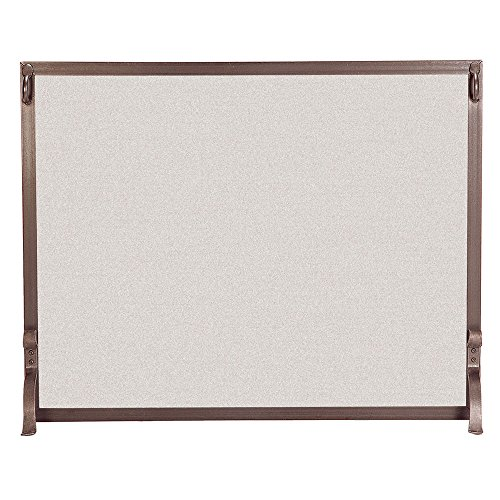 Pilgrim Home and Hearth 18283 Forged Iron Single Panel Fireplace Screen, 39″W x 31″H, 22 lbs, Burnished Bronze
