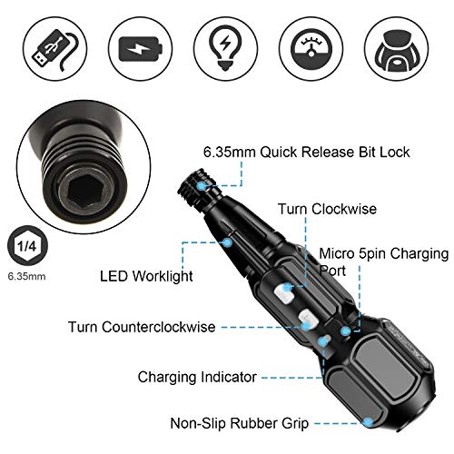 Rechargeable Cordless Screwdriver-Electric Screwdriver Hand Tool Kit Set for Man Women Mini Portable Cordless Power Drill with LED Light,USB Charging Cable (W/ 8bits)…