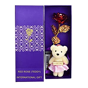 International Gift Artificial Rose and Carry Bag (Red)