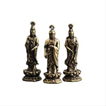 Chinese Ancient Guanyin Exquisite Hand Piece Pendant Statues Sculptures Buddha Statue 3pcs