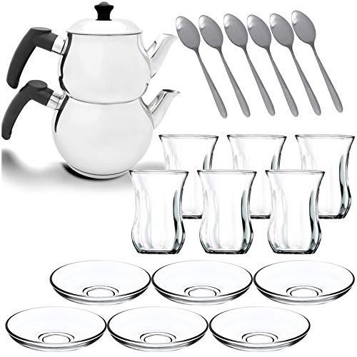 Türkischer Teekocher Teekanne Caydanlik Demlik Induktionsgeeignet Wasserkocher (schwarz M2 + Set)