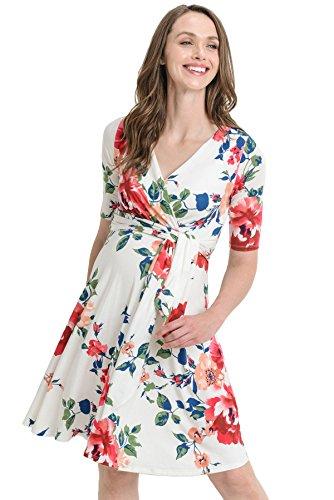 HELLO MIZ Women's Floral Faux Wrap Side Tie Belt Nursing and Maternity Dress...
