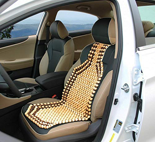 OnWheel car Bead seat Wooden Cushion Cover pad for Acupressure Sitting in Cream Color (1 pc)