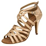 TDA Women's Peep Toe Stiletto High Heel Beige Satin Salsa Tango Samba Modern Latin Dance Wedding Shoes 8 M US