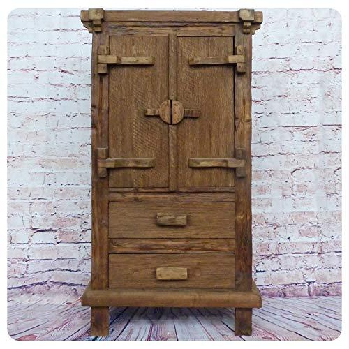 Simandra Altholz Hochschrank Vintage Möbel Unikat Handarbeit Massivholz Schrank Teak-Holz Pur Natur Moyo Antik