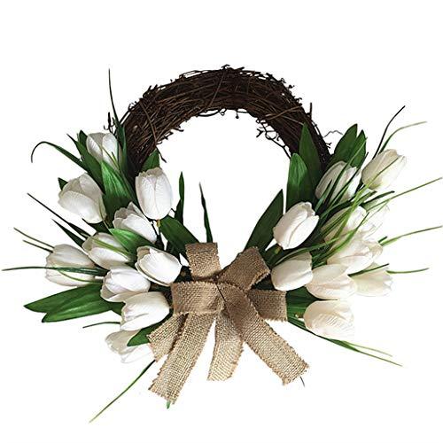 LEJIA Artificial Flowers White Tulip Wreath Spring Wreath Outdoor for Front Door