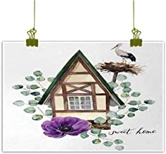 Anemone Flower Modern Oil Paintings Watercolor Happy Home Label House in Alpine Style White Stork Nest Canvas Wall Art 24